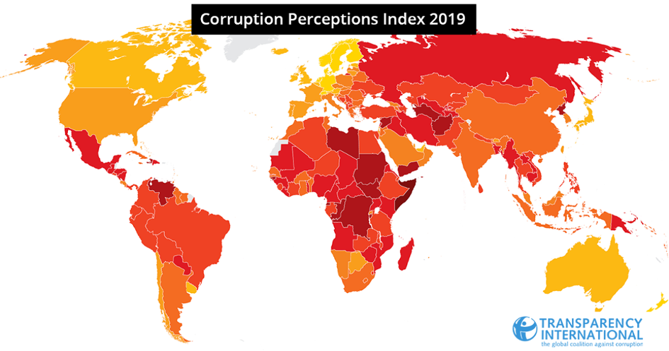Transparency International, corruptie perceptie index 2019